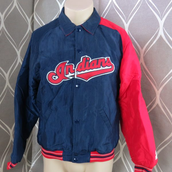 MAJESTIC Cleveland Indians MLB Bomber Jacket sz Youth heavy quality (1)
