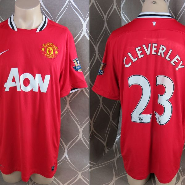 newest f38a2 be9c7 Manchester United 2011-12 EPL home shirt Nike jersey Cleverly 23 size XL
