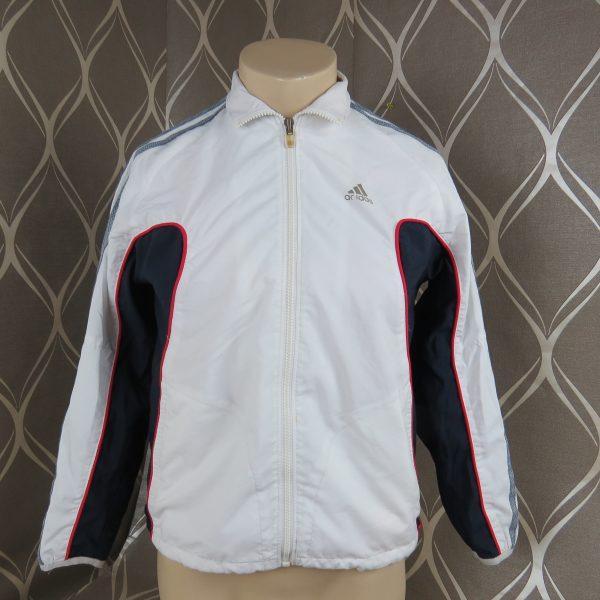 Adidas 2005 white navy tracksuit shell jacket size Boys M 152 10-12Y (1)