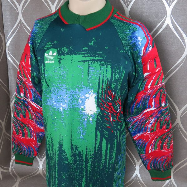 Adidas ls shirt modern art style padded GK #1 soccer jersey size L 40-42 (2)