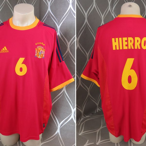 Spain 2002-04 home shirt adidas soccer jersey Hierro 6 XL World Cup 2002 (1)
