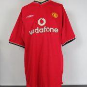 Manchester United 2000-01 home shirt Umbro soccer jersey Johnsen 5 size XL (1)