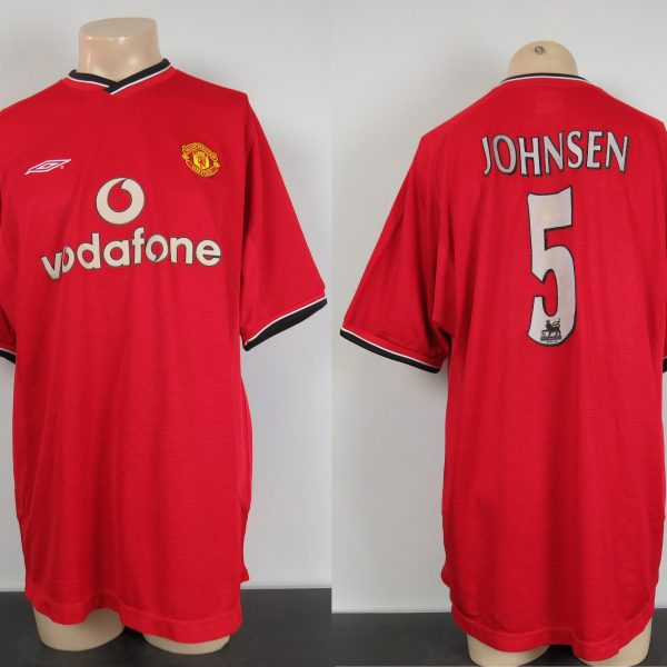 Manchester United 2000-01 home shirt Umbro soccer jersey Johnsen 5 size XL