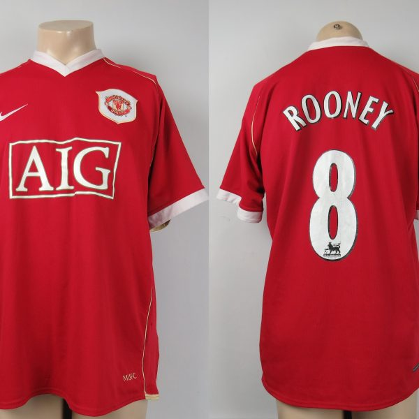 Manchester United 2006-07 home shirt Nike soccer jersey Rooney 8 size L (1)