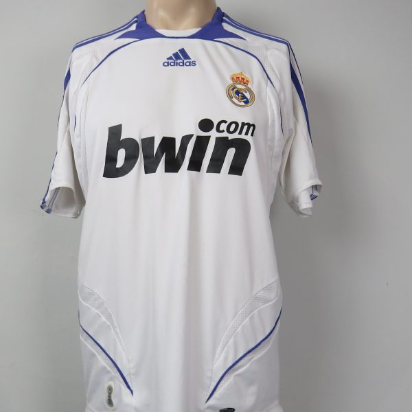 Real Madrid 2007-08 LFP home shirt adidas soccer jersey size M (1)