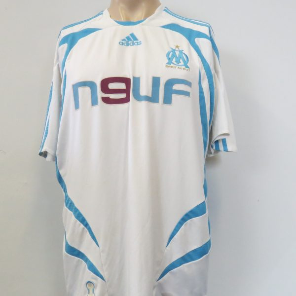 Olympique Marseille 2007-08 home shirt adidas soccer jersey size L (1)
