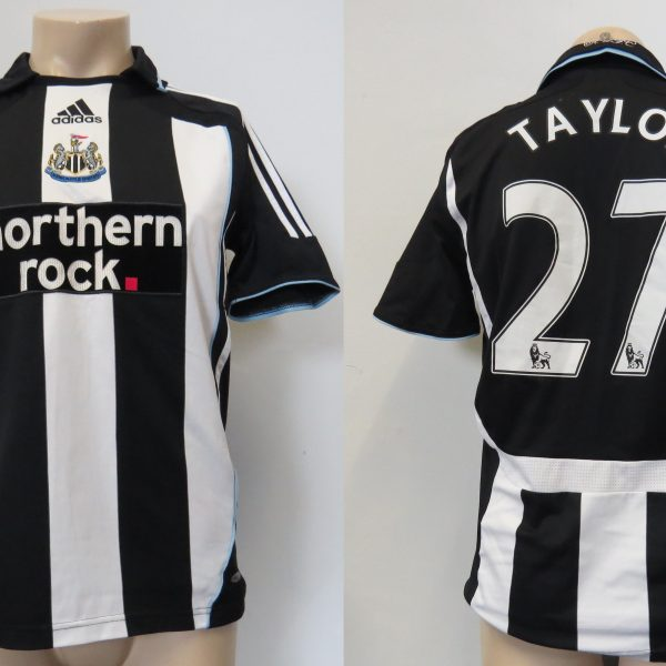 Newcastle United 2007-09 home shirt adidas Clima365 soccer jersey Taylor 27 size S