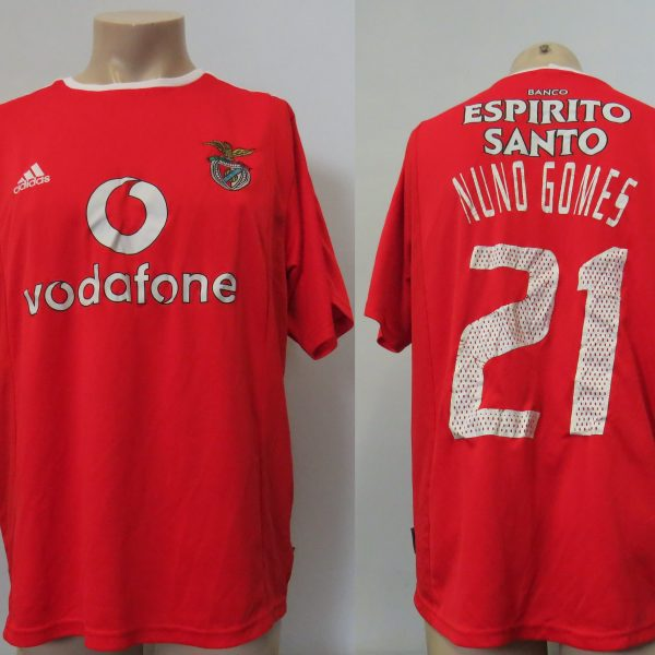 Vintage Benfica 2003-04 home shirt Adidas Climalite jersey Nuno Gomes 21 size L