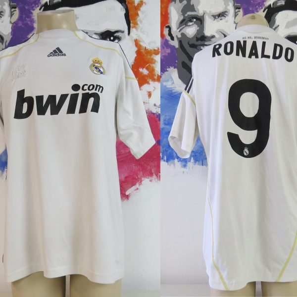 Real Madrid 2009-10 home shirt adidas LFP soccer jersey Ronaldo 9 size L (1)
