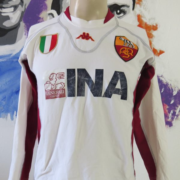 AS Roma 2001-02 ls away shirt Kappa soccer jersey size S tight fitting (1)