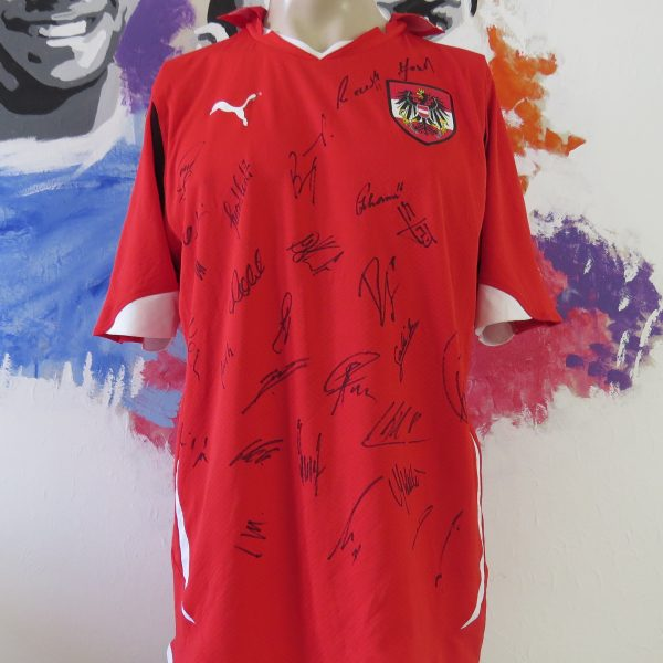 Austria 2010-11 home shirt Puma Osterreich jersey size L Squad Signed (1)