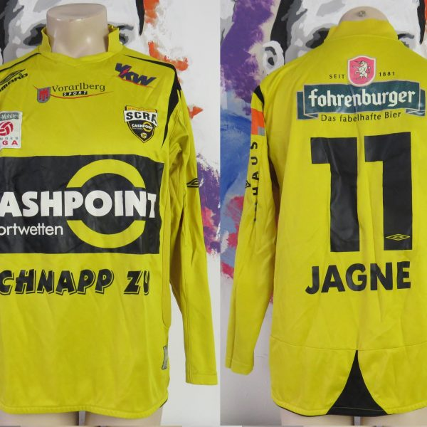 Match worn issue Rheindorf Altach home shirt BL Jagne 11 size L Umbro (1)