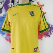 Brazil 1998-00 home shirt NIKE soccer jersey size boys XL World Cup '98 (4)
