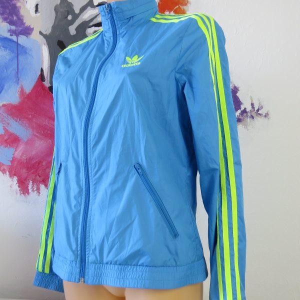 Adidas originals blue yellow women's tracksuit jacket hooded size UK 10 EU 36 (1)