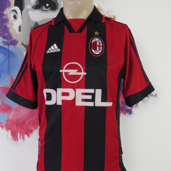 AC Milan 1998 1999 2000 home shirt adidas soccer jersey Weah 14 size S (1)