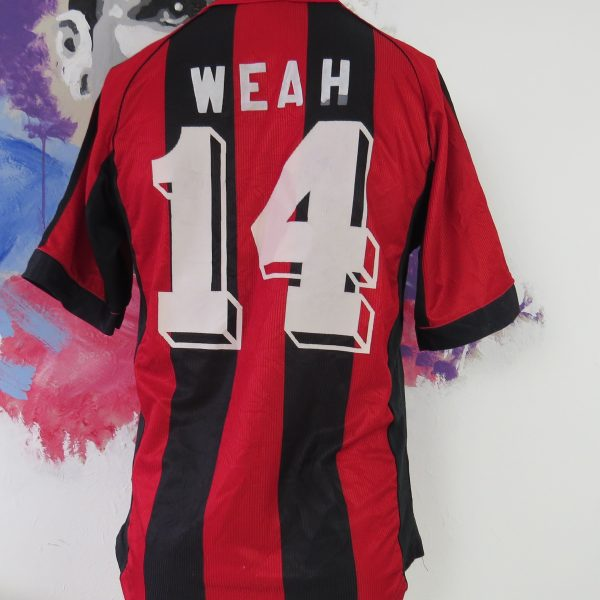 AC Milan 1998 1999 2000 home shirt adidas soccer jersey Weah 14 size S (2)