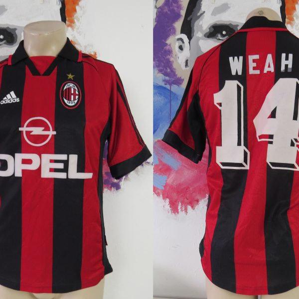 AC Milan 1998 1999 2000 home shirt adidas soccer jersey Weah 14 size S