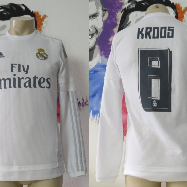 Real Madrid 2015 2016 LFP ls home football shirt adidas Kroos #8 size S (1)