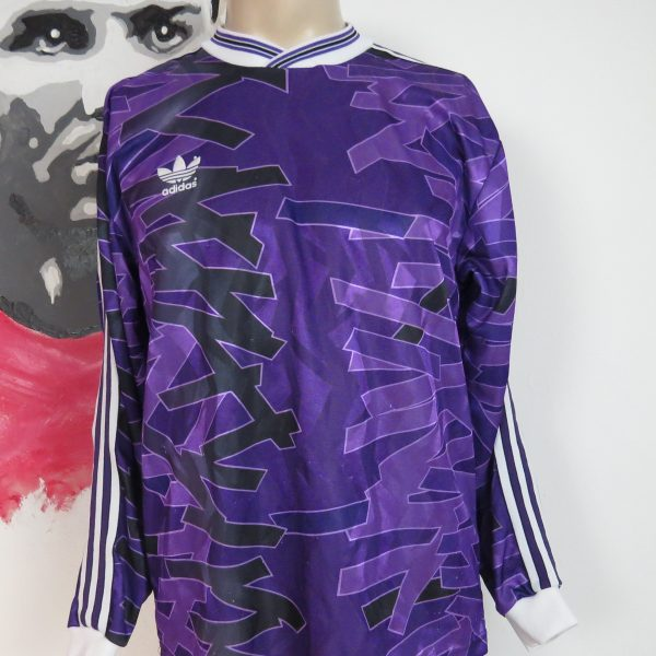 Vintage adidas early 1990ies purple football ls shirt size 56 M (1)