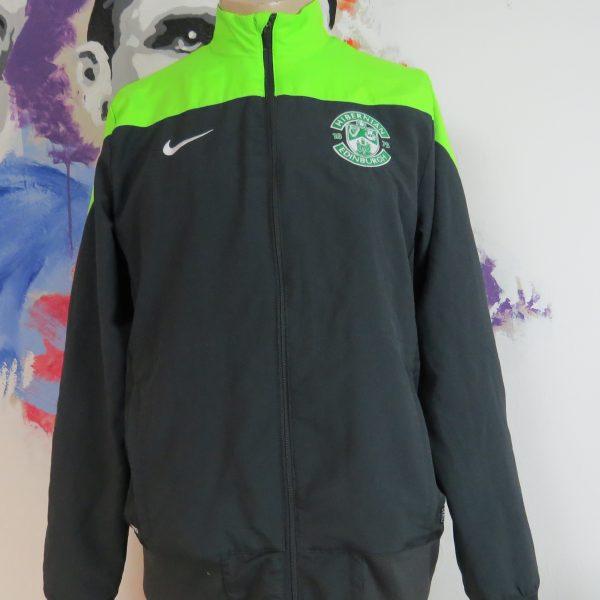 Hibernian fluorescent green grey tracksuit jacket Nike zip size M Hibs (1)