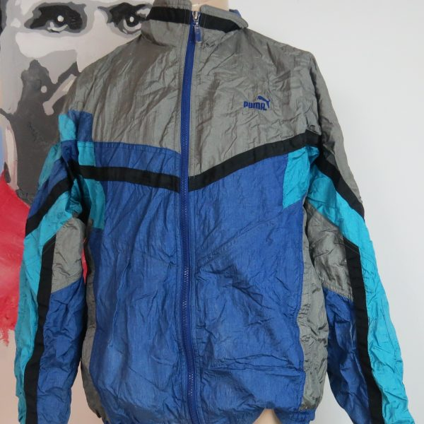 Vintage PUMA 1980ies tracksuit blue grey jacket size L (Puma size 7) (1)