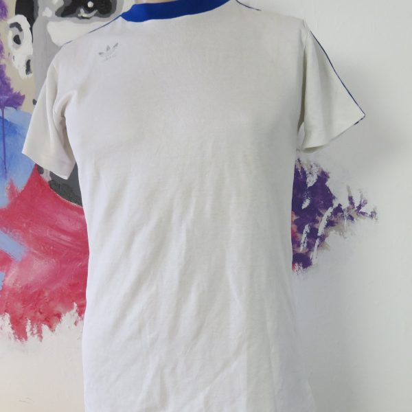 Vintage adidas 1970ies 1980ies white football shirt #13 size M made West Germany (1)
