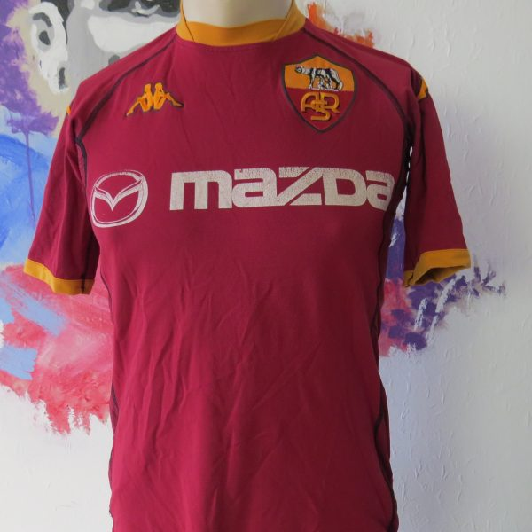 Vintage AS Roma 2002 2003 home shirt Kappa size S tight fitting Gara (1)