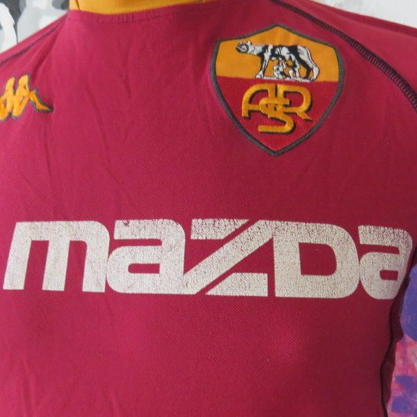 Vintage AS Roma 2002 2003 home shirt Kappa size S tight fitting Gara (2)