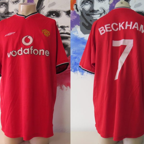 Vintage Manchester United 2000 2001 2002 home shirt Umbro Beckham 7 size XL (1)