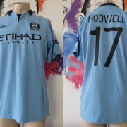 Match worn issue Manchester City 2012 Champions league shirt Rodwell 17