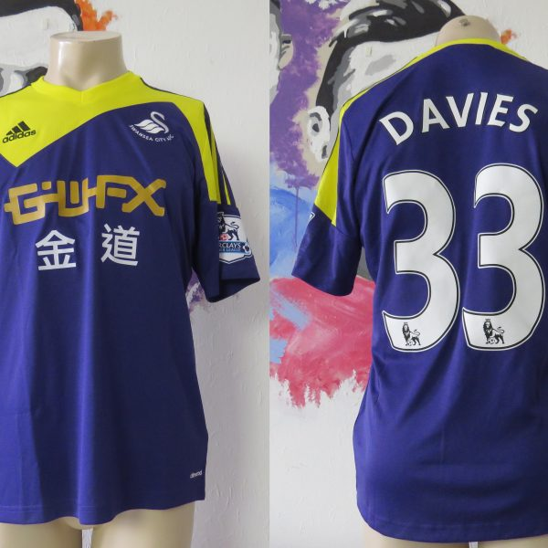 Match worn issue SWANSEA City 2013 2014 EPL away shirt Ben Davies 33