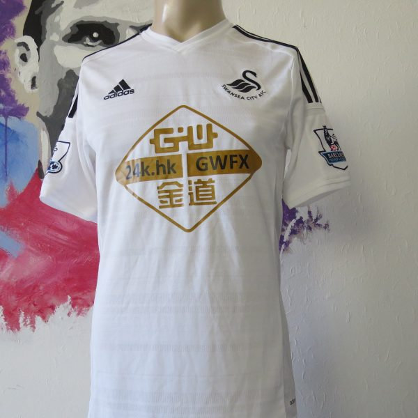 Match worn issue SWANSEA City 2014 2015 home shirt adizero #4 Ki Sung Yueng (1)