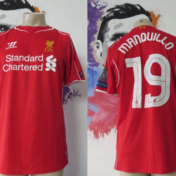 Match worn Liverpool 2014 2015 Champions league home shirt Manquilo 15 (1)