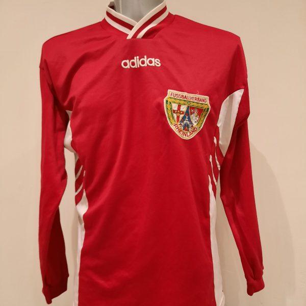 Vintage Adidas 1990ies red German ls amateur team football shirt #8 size L (1)