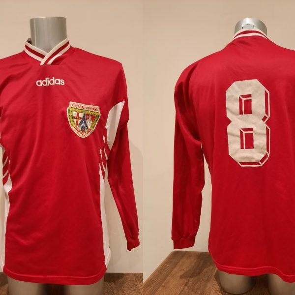Vintage Adidas 1990ies red German ls amateur team football shirt #8 size L