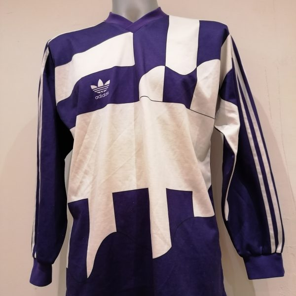 Vintage Adidas 1991 1992 purple football shirt #3 size L (1)