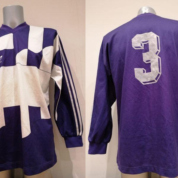 Vintage Adidas 1991 1992 purple football shirt #3 size L