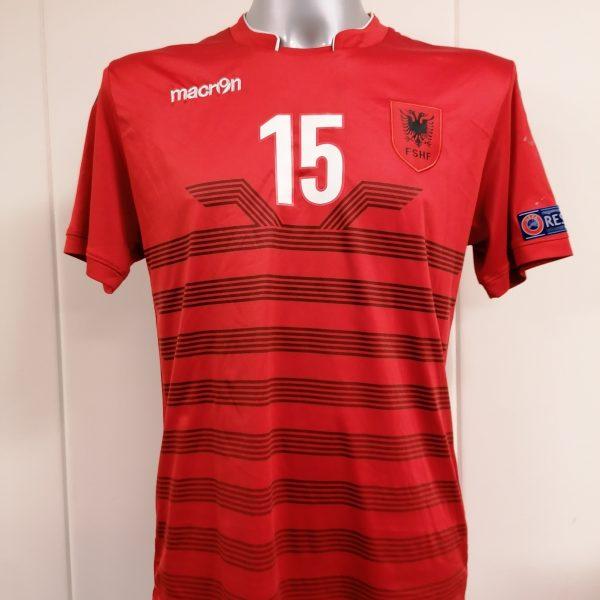 Albania 2016 2017 home shirt Macron Mavraj 15 trikot jersey size M (1)