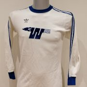 Vintage Adidas 1970ies 80ies white German amateur team football shirt #9 size M (1)