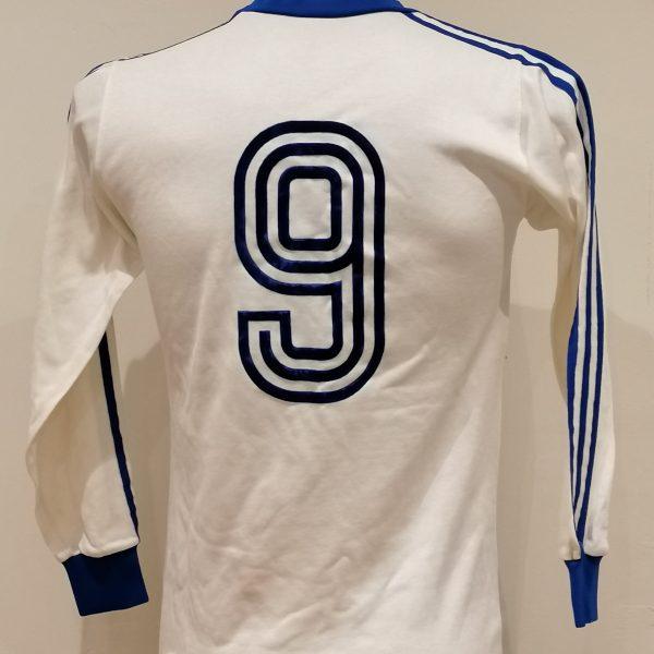 Vintage Adidas 1970ies 80ies white German amateur team football shirt #9 size M (2)