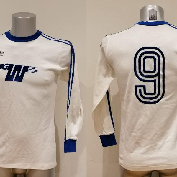 Vintage Adidas 1970ies 80ies white German amateur team football shirt #9 size M