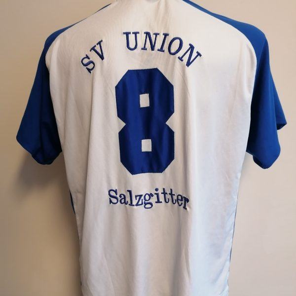 Vintage adidas 1990ies SV Union Salzgitter blue white football shirt #8 size XL (1)