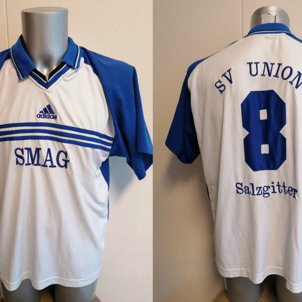 Vintage adidas 1990ies SV Union Salzgitter blue white football shirt #8 size XL