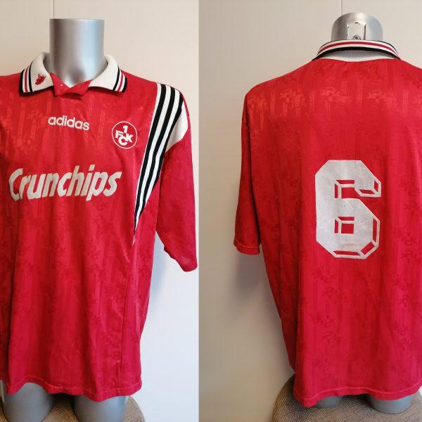 Vintage 1FC Kaiserslautern 1996 1997 1998 home shirt Adidas #6 Brehme size XXL (1)