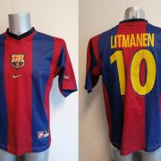 Vintage Barcelona 1998-00 home shirt Nike football top Litmanen 10 size S (1)