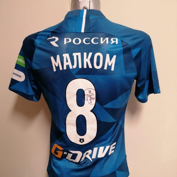 Match issue Zenit St Petersburg 2019 2020 home shirt Malcom 8 signed (6)