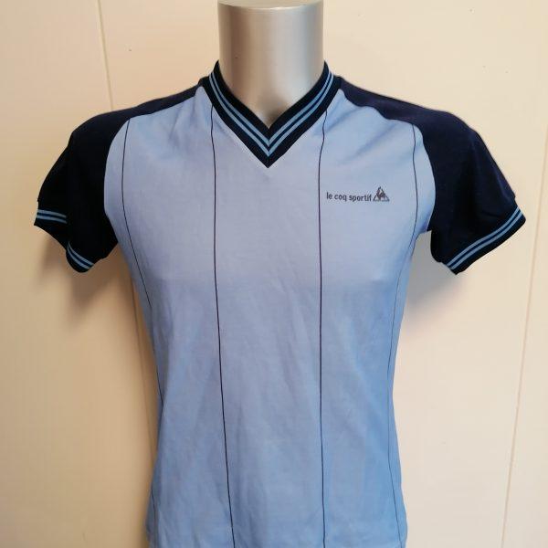 Vintage Le Coq Sportif 1980ies blue football shirt size S (1)