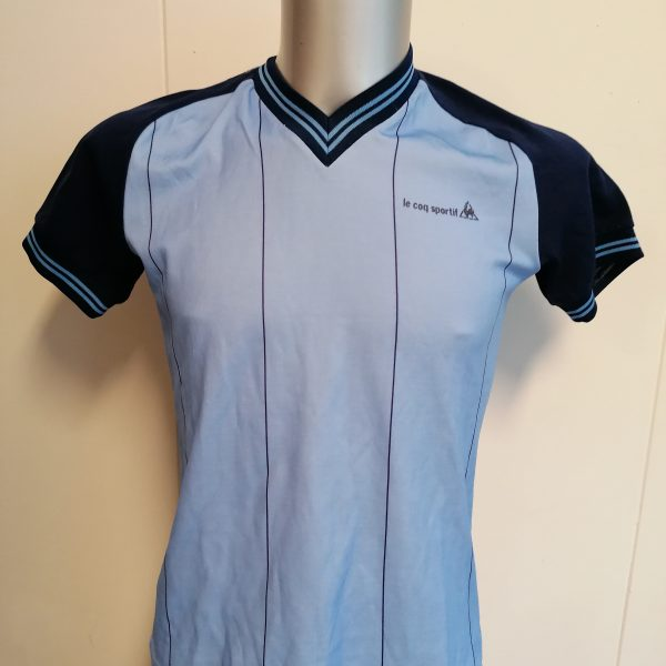 Vintage Le Coq Sportif 1980ies blue football shirt size Sv2 (1)
