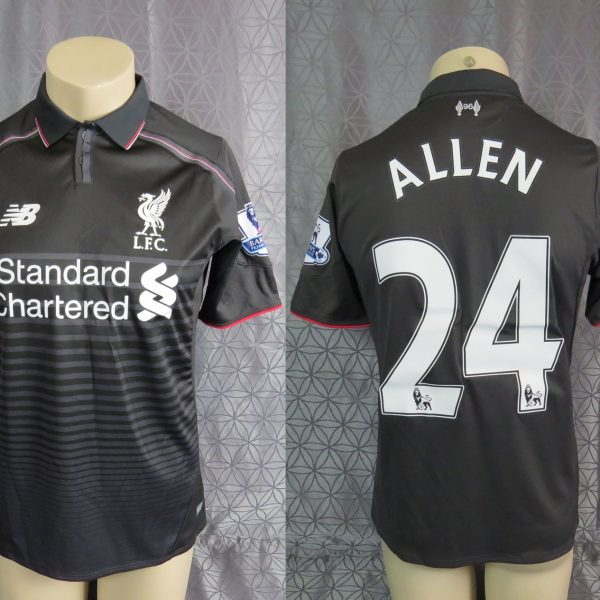 hot sale online 109f8 5b8da Match worn Liverpool 2015-16 EPL New Balance away shirt jersey Allen 24